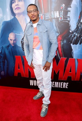 "LOS ANGELES, CA - JUNE 29: Actor/rapper Tip ""T.I."" Harris attends the world premiere of Marvel's ""Ant-Man"" at The Dolby Theatre on June 29, 2015 in Los Angeles, California. (Photo by Jesse Grant/Getty Images for Disney) *** Local Caption *** Tip Harris;T.I."