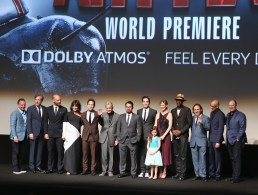 """LOS ANGELES, CA - JUNE 29: (L-R) Executive producer Louis D'Esposito, actors Martin Donovan, Corey Stoll, Evangeline Lilly, Paul Rudd, Michael Douglas, Michael Pena, David Dastmalchian, Abby Ryder Fortson, Judy Greer, Wood Harris and Gregg Turkington, director Director Peyton Reed and producer Kevin Feige onstage during the world premiere of Marvel's """"Ant-Man"""" at The Dolby Theatre on June 29, 2015 in Los Angeles, California. (Photo by Jesse Grant/Getty Images for Disney) *** Local Caption *** Louis D'Esposito;Martin Donovan;Corey Stoll;Evangeline Lilly;Paul Rudd;Michael Douglas;Michael Pena;David Dastmalchian;Abby Ryder Fortson;Judy Greer;Wood Harris;Gregg Turkington;Peyton Reed;Kevin Feige"""