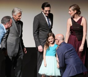 """LOS ANGELES, CA - JUNE 29: (L-R) Executive producer Louis D'Esposito, actors Michael Douglas, David Dastmalchian and Abby Ryder Fortson, director Peyton Reed and actress Judy Greer onstage during the world premiere of Marvel's """"Ant-Man"""" at The Dolby Theatre on June 29, 2015 in Los Angeles, California. (Photo by Jesse Grant/Getty Images for Disney) *** Local Caption *** Louis D'Esposito;Michael Douglas;David Dastmalchian;Abby Ryder Fortson;Peyton Reed;Judy Greer"""