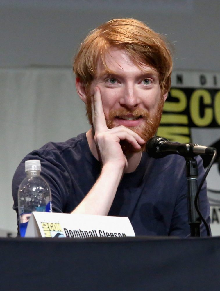 SAN DIEGO, CA - JULY 10: Actor Domhnall Gleeson at the Hall H Panel for `Star Wars: The Force Awakens` during Comic-Con International 2015 at the San Diego Convention Center on July 10, 2015 in San Diego, California. (Photo by Jesse Grant/Getty Images for Disney) *** Local Caption *** Domhnall Gleeson