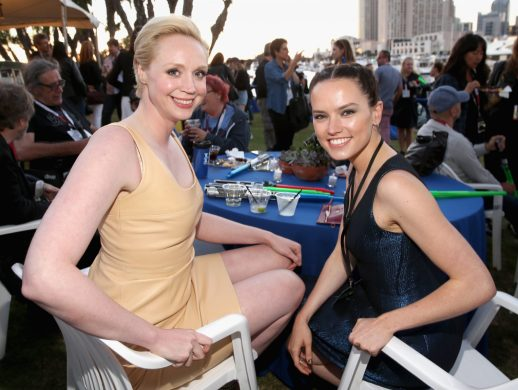SAN DIEGO, CA - JULY 10: Actresses Gwendoline Christie (L), Daisy Ridley and more than 6000 fans enjoyed a surprise `Star Wars` Fan Concert performed by the San Diego Symphony, featuring the classic `Star Wars` music of composer John Williams, at the Embarcadero Marina Park South on July 10, 2015 in San Diego, California. (Photo by Jesse Grant/Getty Images for Disney) *** Local Caption *** Gwendoline Christie; Daisy Ridley