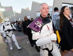 SAN DIEGO, CA - JULY 10: Following the `Star Wars` Hall H presentation at Comic-Con International 2015 at the San Diego Convention Center in San Diego, Calif., 501st Legion member, Kevin Doyle and the audience of more than 6000 fans walked to a surprise `Star Wars` Fan Concert performed by the San Diego Symphony, featuring the classic `Star Wars` music of composer John Williams, at the Embarcadero Marina Park South on July 10, 2015 in San Diego, California. (Photo by Michael Buckner/Getty Images for Disney) *** Local Caption *** Kevin Doyle