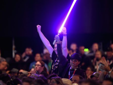 SAN DIEGO, CA - JULY 10: Star Wars fans at the Hall H Panel for `Star Wars: The Force Awakens` during Comic-Con International 2015 at the San Diego Convention Center on July 10, 2015 in San Diego, California. (Photo by Michael Buckner/Getty Images for Disney)