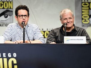 SAN DIEGO, CA - JULY 10: Director J.J. Abrams (L) and screenwriter Lawrence Kasdan at the Hall H Panel for `Star Wars: The Force Awakens` during Comic-Con International 2015 at the San Diego Convention Center on July 10, 2015 in San Diego, California. (Photo by Michael Buckner/Getty Images for Disney) *** Local Caption *** J.J. Abrams; Lawrence Kasdan