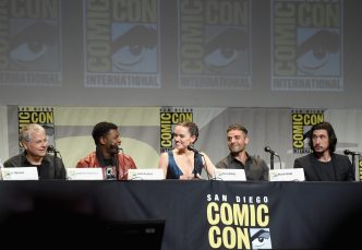SAN DIEGO, CA - JULY 10: (L-R) Screenwriter Lawrence Kasdan and actors John Boyega, Daisy Ridley, Oscar Isaac and Adam Driver at the Hall H Panel for `Star Wars: The Force Awakens` during Comic-Con International 2015 at the San Diego Convention Center on July 10, 2015 in San Diego, California. (Photo by Michael Buckner/Getty Images for Disney) *** Local Caption *** Lawrence Kasdan; John Boyega; Daisy Ridley; Oscar Isaac; Adam Driver