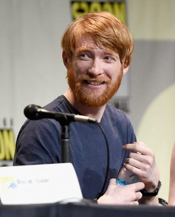 SAN DIEGO, CA - JULY 10: Actor Domhnall Gleeson at the Hall H Panel for `Star Wars: The Force Awakens` during Comic-Con International 2015 at the San Diego Convention Center on July 10, 2015 in San Diego, California. (Photo by Michael Buckner/Getty Images for Disney) *** Local Caption *** Domhnall Gleeson