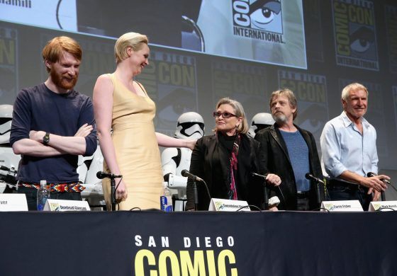 SAN DIEGO, CA - JULY 10: (L-R) Actors Domhnall Gleeson, Gwendoline Christie, Carrie Fisher, Mark Hamill and Harrison Ford at the Hall H Panel for `Star Wars: The Force Awakens` during Comic-Con International 2015 at the San Diego Convention Center on July 10, 2015 in San Diego, California. (Photo by Jesse Grant/Getty Images for Disney) *** Local Caption *** Domhnall Gleeson; Gwendoline Christie; Carrie Fisher; Mark Hamill; Harrison Ford