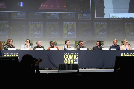 SAN DIEGO, CA - JULY 10: (L-R) Producer Kathleen Kennedy, director J.J. Abrams, screenwriter Lawrence Kasdan and actors John Boyega, Daisy Ridley, Oscar Isaac, Adam Driver, Domhnall Gleeson and Gwendoline Christie at the Hall H Panel for `Star Wars: The Force Awakens` during Comic-Con International 2015 at the San Diego Convention Center on July 10, 2015 in San Diego, California. (Photo by Jesse Grant/Getty Images for Disney) *** Local Caption *** Kathleen Kennedy; J.J. Abrams; Lawrence Kasdan; John Boyega; Daisy Ridley; Oscar Isaac; Adam Driver; Domhnall Gleeson; Gwendoline Christie