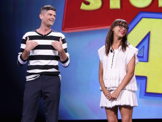 "ANAHEIM, CA - AUGUST 14: Writers Will McCormack (L) and Rashida Jones of TOY STORY 4 took part today in ""Pixar and Walt Disney Animation Studios: The Upcoming Films"" presentation at Disney's D23 EXPO 2015 in Anaheim, Calif. (Photo by Jesse Grant/Getty Images for Disney) *** Local Caption *** Will McCormack; Rashida Jones"