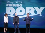 """ANAHEIM, CA - AUGUST 14: (L-R) Producer Lindsey Collins and directors Angus MacLane and Andrew Stanton of FINDING DORY took part today in """"Pixar and Walt Disney Animation Studios: The Upcoming Films"""" presentation at Disney's D23 EXPO 2015 in Anaheim, Calif. (Photo by Jesse Grant/Getty Images for Disney) *** Local Caption *** Lindsey Collins; Angus MacLane; Andrew Stanton"""
