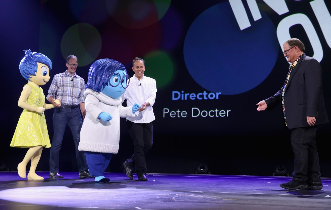 "ANAHEIM, CA - AUGUST 14: (L-R) Director of INSIDE OUT Pete Docter, Producer of INSIDE OUT Jonas Rivera and Chief Creative Officer of Walt Disney and Pixar Animation Studios John Lasseter took part today in ""Pixar and Walt Disney Animation Studios: The Upcoming Films"" presentation at Disney's D23 EXPO 2015 in Anaheim, Calif. (Photo by Jesse Grant/Getty Images for Disney) *** Local Caption *** Pete Docter; Jonas Rivera; John Lasseter"