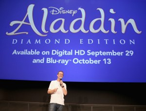 "BURBANK, CA - SEPTEMBER 27: Actor Scott Weinger speaks during a special LA screening celebrating Diamond Edition release of ""ALADDIN"" at The Walt Disney Studios on September 27, 2015 in Burbank, California. (Photo by Jesse Grant/Getty Images for Disney) *** Local Caption *** Scott Weinger"