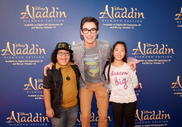 "BURBANK, CA - SEPTEMBER 27: (L-R) Actors Nathan Arenas, Joey Bragg and Nina Lu attend a special LA screening celebrating Diamond Edition release of ""ALADDIN"" at The Walt Disney Studios on September 27, 2015 in Burbank, California. (Photo by Jesse Grant/Getty Images for Disney) *** Local Caption *** Nathan Arenas; Joey Bragg; Nina Lu"