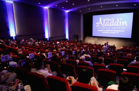 """BURBANK, CA - SEPTEMBER 27: A view of the atmosphere during a special LA screening celebrating Diamond Edition release of """"ALADDIN"""" at The Walt Disney Studios on September 27, 2015 in Burbank, California. (Photo by Jesse Grant/Getty Images for Disney)"""