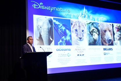 NEW YORK, NY - SEPTEMBER 02: Vice President of Disneynature Franchise at Walt Disney Studios Paul Baribault speaks on stage at Disneynature's Monkey Kingdom special screening celebrating the film's September15th Blu-ray / Digital HD release on September 2, 2015 in New York City. (Photo by Mike Coppola/Getty Images for Disneynature)