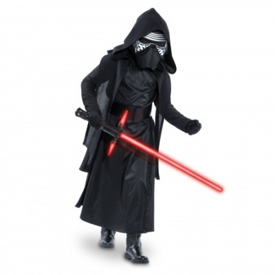 Kylo Ren Costume for Kids - Star Wars: The Force Awakens. .Available at Disney Store.MSRP: $59.95.Available: September 4. .Our Kylo Ren Costume for Kids transforms your Star Wars fan into the mysterious dark warrior from the newest installment of the epic saga. The ankle-length cloak comes with pants, hooded cape, gloves and mask.