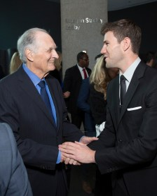 "Alan Alda and Austin Stowell chat as DreamWorks Pictures and Fox2000 Pictures present the ""Bridge of Spies"" world premiere at the New York Film Festival at Lincoln Center in New York on October 4, 2015 (Photo: Alex J. Berliner/ABImages)"