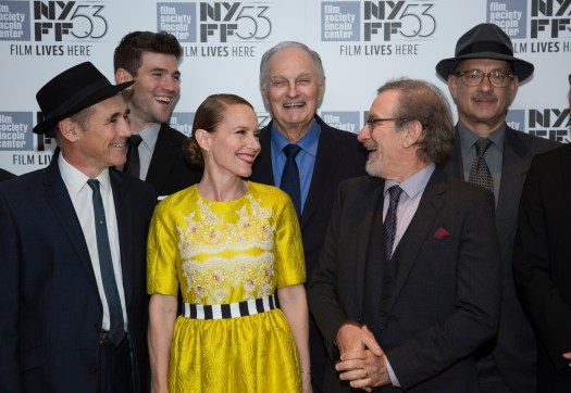 """Mark Rylance, Austin Stowell, Amy Ryan, Alan Alda and Tom Hanks flank Director Steven Spielberg as DreamWorks Pictures and Fox2000 Pictures present the """"Bridge of Spies"""" world premiere at the New York Film Festival at Lincoln Center in New York on October 4, 2015 (Photo: Alex J. Berliner/ABImages)"""