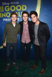 HOLLYWOOD, CA - NOVEMBER 17: (L-R) Ricky Garcia, Liam Attridge and Emery Kelly attend the World Premiere Of Disney-Pixar's THE GOOD DINOSAUR at the El Capitan Theatre on November 17, 2015 in Hollywood, California. (Photo by Alberto E. Rodriguez/Getty Images for Disney) *** Local Caption *** Emery Kelly; Liam Attridge; Ricky Garcia