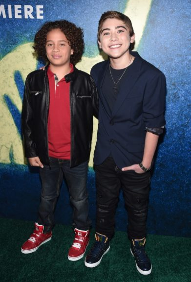 HOLLYWOOD, CA - NOVEMBER 17: (L-R) Actors Jack Bright and Raymond Ochoa attend the World Premiere Of Disney-Pixar's THE GOOD DINOSAUR at the El Capitan Theatre on November 17, 2015 in Hollywood, California. (Photo by Alberto E. Rodriguez/Getty Images for Disney) *** Local Caption *** Jack Bright; Raymond Ochoa