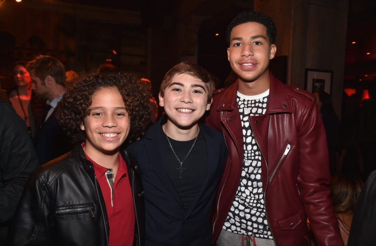 HOLLYWOOD, CA - NOVEMBER 17: (L-R) Jack Bright, Raymond Ochoa, and Marcus Scribner attend the World Premiere Of Disney-Pixar's THE GOOD DINOSAUR at the El Capitan Theatre on November 17, 2015 in Hollywood, California. (Photo by Alberto E. Rodriguez/Getty Images for Disney) *** Local Caption *** Jack Bright; Raymond Ochoa; Marcus Scribner
