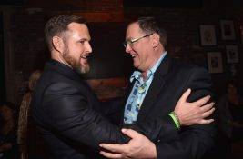 HOLLYWOOD, CA - NOVEMBER 17: Actor A.J. Buckley (L) and executive producer John Lasseter attend the World Premiere Of Disney-Pixar's THE GOOD DINOSAUR at the El Capitan Theatre on November 17, 2015 in Hollywood, California. (Photo by Alberto E. Rodriguez/Getty Images for Disney) *** Local Caption *** A.J. Buckley; John Lasseter