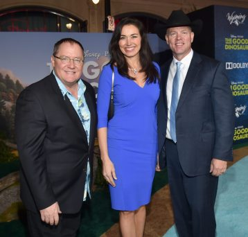 HOLLYWOOD, CA - NOVEMBER 17: (L-R) Executive producer John Lasseter, Carol Mead and Governor of Wyoming, Matthew H. Mead attend the World Premiere Of Disney-Pixar's THE GOOD DINOSAUR at the El Capitan Theatre on November 17, 2015 in Hollywood, California. (Photo by Alberto E. Rodriguez/Getty Images for Disney) *** Local Caption *** John Lasseter; Carol Mead; Matthew H. Mead