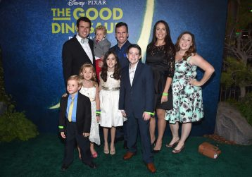 HOLLYWOOD, CA - NOVEMBER 17: (L-R) The Ballinger family and the Eh Bee Family attend the World Premiere Of Disney-Pixar's THE GOOD DINOSAUR at the El Capitan Theatre on November 17, 2015 in Hollywood, California. (Photo by Alberto E. Rodriguez/Getty Images for Disney) *** Local Caption *** Ballinger; Eh Bee