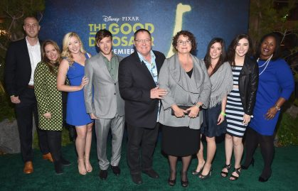 HOLLYWOOD, CA - NOVEMBER 17: Executive producer John Lasseter (C) and Nancy Lasseter with friends and family attend the World Premiere Of Disney-Pixar's THE GOOD DINOSAUR at the El Capitan Theatre on November 17, 2015 in Hollywood, California. (Photo by Alberto E. Rodriguez/Getty Images for Disney) *** Local Caption *** John Lasseter; Nancy Lasseter