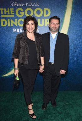 HOLLYWOOD, CA - NOVEMBER 17: Producer Katherine Sarafian (L) and director Meher Gourjian attend the World Premiere Of Disney-Pixar's THE GOOD DINOSAUR at the El Capitan Theatre on November 17, 2015 in Hollywood, California. (Photo by Alberto E. Rodriguez/Getty Images for Disney) *** Local Caption *** Katherine Sarafian; Meher Gourjian
