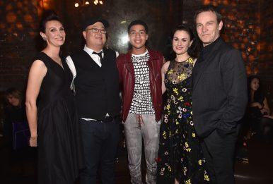 HOLLYWOOD, CA - NOVEMBER 17: (L-R) Artist Anna Chambers, director Peter Sohn and actors Marcus Scribner, Anna Paquin and Stephen Moyer attend the World Premiere Of Disney-Pixar's THE GOOD DINOSAUR at the El Capitan Theatre on November 17, 2015 in Hollywood, California. (Photo by Alberto E. Rodriguez/Getty Images for Disney) *** Local Caption *** Anna Chambers; Peter Sohn; Marcus Scribner; Anna Paquin; Stephen Moyer