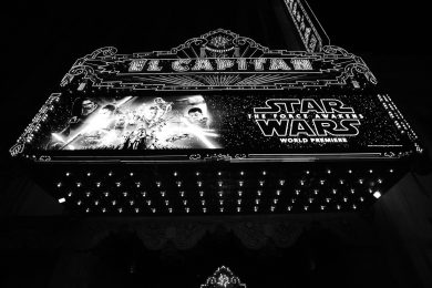 HOLLYWOOD, CA - DECEMBER 14: (EDITORS NOTE: Image has been shot in black and white. Color version not available.) A view of the marquee during the World Premiere of ?Star Wars: The Force Awakens? at the Dolby, El Capitan, and TCL Theatres on December 14, 2015 in Hollywood, California. (Photo by Charley Gallay/Getty Images for Disney)