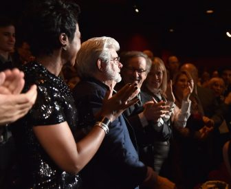 HOLLYWOOD, CA - DECEMBER 14: (L-R) Directors George Lucas (L) and Steven Spielberg attend the World Premiere of ?Star Wars: The Force Awakens? at the Dolby, El Capitan, and TCL Theatres on December 14, 2015 in Hollywood, California. (Photo by Alberto E. Rodriguez/Getty Images for Disney) *** Local Caption *** George Lucas;Steven Spielberg