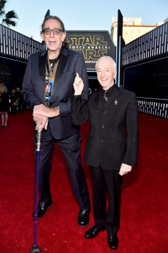 HOLLYWOOD, CA - DECEMBER 14: Actors Peter Mayhew (L) and Anthony Daniels attend the World Premiere of ?Star Wars: The Force Awakens? at the Dolby, El Capitan, and TCL Theatres on December 14, 2015 in Hollywood, California. (Photo by Alberto E. Rodriguez/Getty Images for Disney) *** Local Caption *** Peter Mayhew;Anthony Daniels