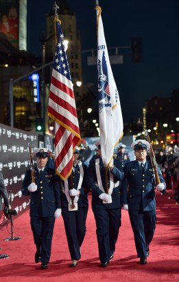 HOLLYWOOD, CA - JANUARY 25: The cast of Disney?s ?The Finest Hours? were greeted by the U.S. Coast Guard Band, Honor Guard and throngs of fans at the film?s premiere earlier tonight at the TCL Chinese Theater on Hollywood Blvd. The heroic action-thriller opens in U.S. theaters this Friday, January 29. (Photo by Alberto E. Rodriguez/Getty Images for Disney)