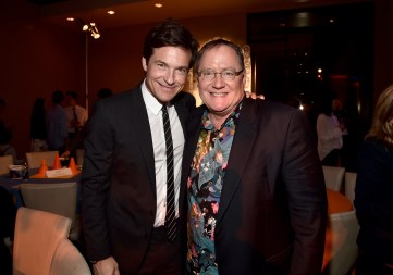 """HOLLYWOOD, CA - FEBRUARY 17: Actor Jason Bateman (L) and executive producer John Lasseter attend the Los Angeles premiere of Walt Disney Animation Studios' """"Zootopia"""" on February 17, 2016 in Hollywood, California. (Photo by Alberto E. Rodriguez/Getty Images for Disney) *** Local Caption *** Jason Bateman; John Lasseter"""