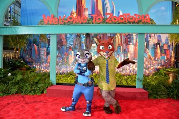 """HOLLYWOOD, CA - FEBRUARY 17: Judy Hopps (L) and Nick Wilde characters pose during the Los Angeles premiere of Walt Disney Animation Studios' """"Zootopia"""" on February 17, 2016 in Hollywood, California. (Photo by Charley Gallay/Getty Images for Disney)"""