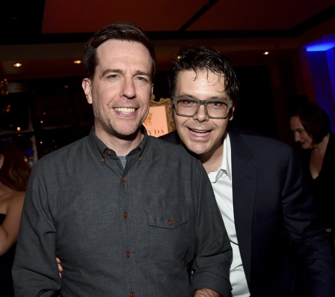 "HOLLYWOOD, CA - FEBRUARY 17: Actor Ed Helms (L) and co-screenwriter Phil Johnston attend the Los Angeles premiere of Walt Disney Animation Studios' ""Zootopia"" on February 17, 2016 in Hollywood, California. (Photo by Alberto E. Rodriguez/Getty Images for Disney) *** Local Caption *** Phil Johnston; Ed Helms"
