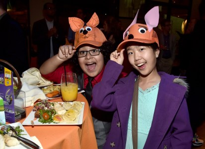 "HOLLYWOOD, CA - FEBRUARY 17: Actress Nina Lu (R) attends the Los Angeles premiere of Walt Disney Animation Studios' ""Zootopia"" on February 17, 2016 in Hollywood, California. (Photo by Alberto E. Rodriguez/Getty Images for Disney) *** Local Caption *** Nina Lu"