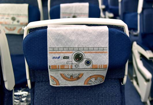 ANA's BB-8 Themed Jet Lands In Los Angeles For STAR WARS: THE FORCE AWAKENS on March 28, 2016 in Los Angeles, California.