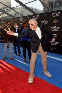 "HOLLYWOOD, CALIFORNIA - APRIL 12: Stan Lee attends The World Premiere of Marvel's ""Captain America: Civil War"" at Dolby Theatre on April 12, 2016 in Los Angeles, California. (Photo by Lester Cohen/Getty Images for Disney) *** Local Caption *** Stan Lee"