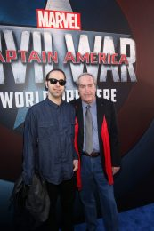 "HOLLYWOOD, CALIFORNIA - APRIL 12: Actor Powers Boothe (R) and son Preston Allen attend The World Premiere of Marvel's ""Captain America: Civil War"" at Dolby Theatre on April 12, 2016 in Los Angeles, California. (Photo by Jesse Grant/Getty Images for Disney) *** Local Caption *** Preston Allen; Powers Boothe"