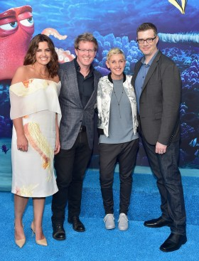 HOLLYWOOD, CA - JUNE 08: (L-R) Producer Lindsey Collins, Director/screenwriter Andrew Stanton, actress Ellen DeGeneres and co-director Angus MacLane attend The World Premiere of Disney-Pixar's FINDING DORY on Wednesday, June 8, 2016 in Hollywood, California. (Photo by Alberto E. Rodriguez/Getty Images for Disney) *** Local Caption *** Lindsey Collins; Andrew Stanton; Ellen DeGeneres; Angus MacLane