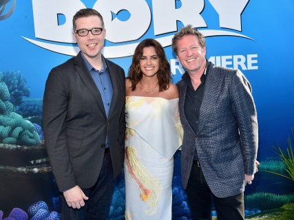 HOLLYWOOD, CA - JUNE 08: (L-R) Co-director Angus MacLane, producer Lindsey Collins and Director/screenwriter Andrew Stanton attend The World Premiere of Disney-Pixar's FINDING DORY on Wednesday, June 8, 2016 in Hollywood, California. (Photo by Alberto E. Rodriguez/Getty Images for Disney) *** Local Caption *** Angus MacLane; Lindsey Collins; Andrew Stanton