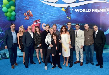 HOLLYWOOD, CA - JUNE 08: (L-R) Actor Bob Peterson, Kaitlin Olson, John Ratzenberger, screenwriter Victoria Strouse, actors Albert Brooks, Ellen DeGeneres, Director/screenwriter Andrew Stanton, actor Hayden Rolence, producer Lindsey Collins, co-director Angus MacLane, actors Ty Burrell, Ed O'Neill and Eugene Levy attend The World Premiere of Disney-Pixar's FINDING DORY on Wednesday, June 8, 2016 in Hollywood, California. (Photo by Alberto E. Rodriguez/Getty Images for Disney) *** Local Caption *** Bob Peterson; Kaitlin Olson; John Ratzenberger; Victoria Strouse; Albert Brooks; Ellen DeGeneres; Andrew Stanton; Hayden Rolence; Lindsey Collins; Angus MacLane; Ty Burrell; Ed O'Neill; Eugene Levy
