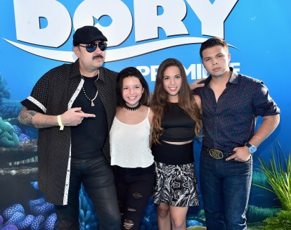 HOLLYWOOD, CA - JUNE 08: Singer Pepe Aguilar (L) and guests attend The World Premiere of Disney-Pixar's FINDING DORY on Wednesday, June 8, 2016 in Hollywood, California. (Photo by Alberto E. Rodriguez/Getty Images for Disney) *** Local Caption *** Pepe Aguilar