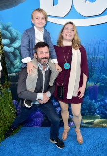 HOLLYWOOD, CA - JUNE 08: (L-R) Oliver Lennon and actors Thomas Lennon and Jenny Robertson with guest attend The World Premiere of Disney-Pixar's FINDING DORY on Wednesday, June 8, 2016 in Hollywood, California. (Photo by Alberto E. Rodriguez/Getty Images for Disney) *** Local Caption *** Oliver Lennon; Thomas Lennon; Jenny Robertson