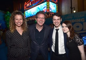 HOLLYWOOD, CA - JUNE 08: (L-R) Screenwriter Victoria Strouse, Director/screenwriter Andrew Stanton, Alexander Gould and Lieba Hall attend The World Premiere of Disney-Pixar's FINDING DORY on Wednesday, June 8, 2016 in Hollywood, California. (Photo by Alberto E. Rodriguez/Getty Images for Disney) *** Local Caption *** Victoria Strouse; Andrew Stanton; Alexander Gould; Lieba Hall