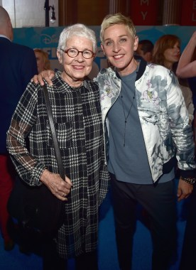 HOLLYWOOD, CA - JUNE 08: Betty DeGeneres (L) and actress Ellen DeGeneres attend The World Premiere of Disney-Pixar's FINDING DORY on Wednesday, June 8, 2016 in Hollywood, California. (Photo by Alberto E. Rodriguez/Getty Images for Disney) *** Local Caption *** Betty DeGeneres; Ellen DeGeneres