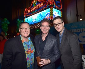 HOLLYWOOD, CA - JUNE 08: (L-R) Executive producer John Lasseter, Director/screenwriter Andrew Stanton and Co-Director Angus MacLane attend The World Premiere of Disney-Pixar's FINDING DORY on Wednesday, June 8, 2016 in Hollywood, California. (Photo by Alberto E. Rodriguez/Getty Images for Disney) *** Local Caption *** John Lasseter; Andrew Stanton; Angus MacLane